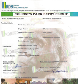 Volcanoes National Park Gorilla permit